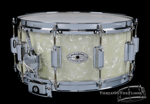 1967 Rogers Dynasonic Snare Drum White Marine Pearl :  6.5 x 14