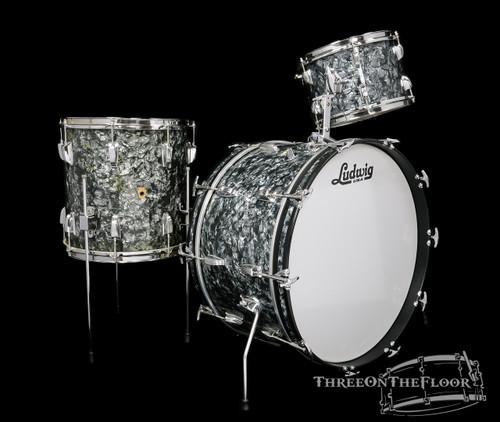 1960s Ludwig Pre-Serial New Yorker Drum Kit : Black Diamond Pearl : 22 12 14 **SOLD**