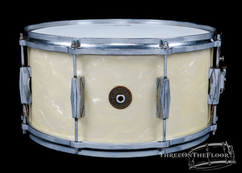 1940s Gretsch Broadkaster Orchestra Model Snare Drum White Marine:  7 x 14