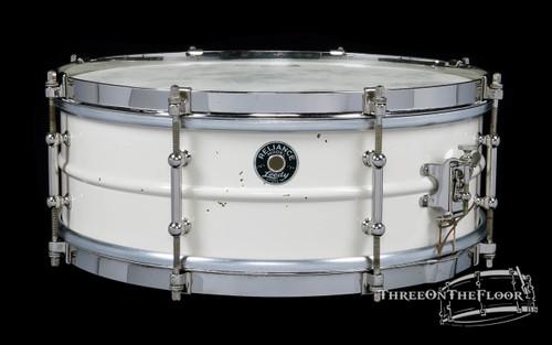 1930s Leedy White Enamel Reliance Model Snare Drum : 5 x 14