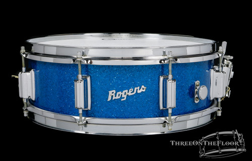 1966 Rogers Powertone Model Wood Vintage Snare Drum Blue Sparkle : 5 x 14 **SOLD**
