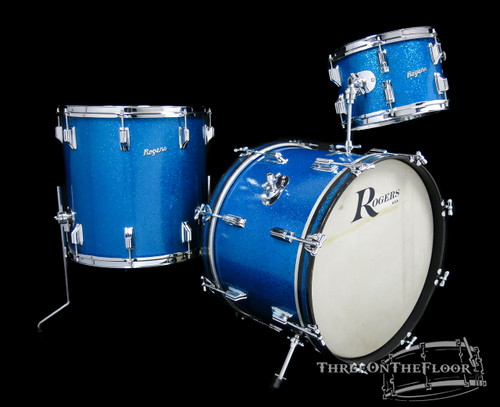 1966 Rogers Holiday 'Swingtime' Model Drum Kit : Blue Sparkle : 20 12 16 **SOLD**