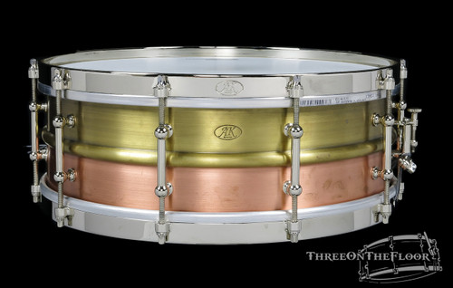 2013 AK Drums Hybrid Copper/Brass Snare Drum Nickel Hardware : 5x14
