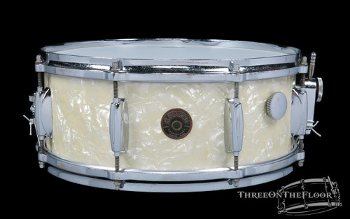 1950s Gretsch Broadkaster Model 3-Ply Snare Drum White Marine:  5 x 14