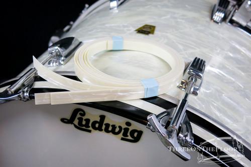 Custom Vintage White Marine Pearl Bass Drum Inlay : Antiqued Color Age WMP