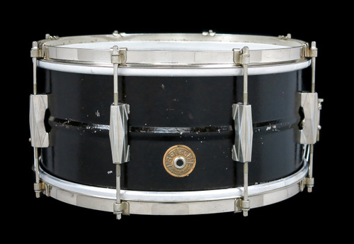 1930s Gretsch Renown Model Brass Snare Drum Broadkaster :  6.5 x 14