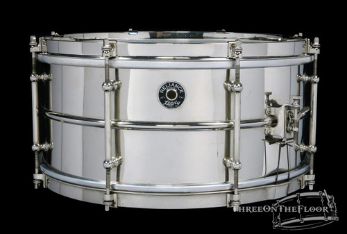 1930s Leedy Reliance Model Brass Vintage Snare Drum : 6.5 x 14