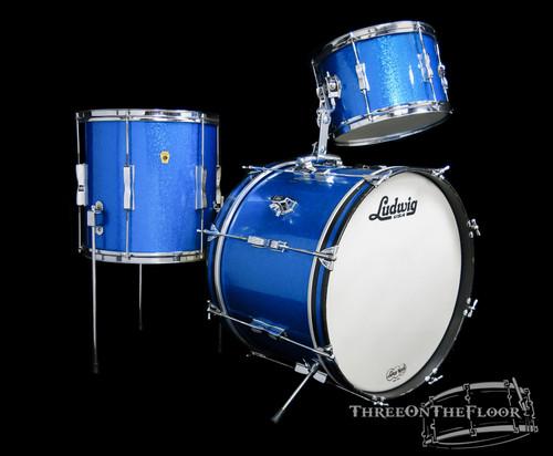 1965 Ludwig Clubdate Vintage Drum Kit Set : Blue Sparkle Pearl : 20 12 14