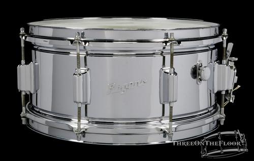 1960s Rogers Powertone COB Brass Vintage Snare Drum : 6.5 x 14