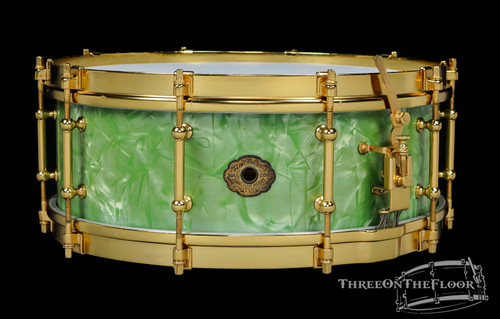 1930s Slingerland 'Fancher' Model Snare Drum Sea Green Pearl : 5 x 14