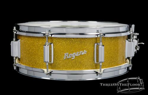 1966 Rogers Tower Model Gold Sparkle Vintage Snare Drum : 5 x 14 **SOLD**