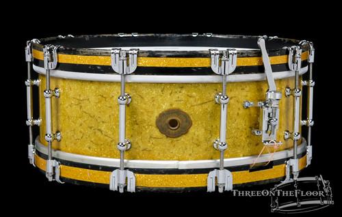1930s Slingerland 'Tone Flange' Model Snare Drum Sparkling Gold : 5 x 14 **SOLD**