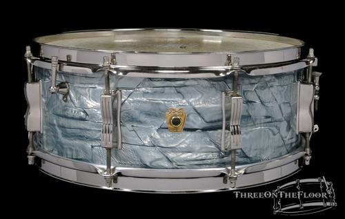 1965 Ludwig Sky Blue Pearl Jazz Festival Snare Drum Vintage Keystone: 5 x 14 **SOLD**
