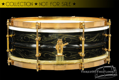 1920s Ludwig DeLuxe Black Beauty 'Scroll' Engraved Snare Drum : 5 x 14