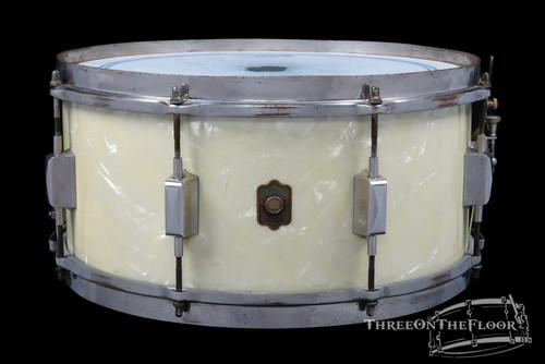 1937 Leedy Broadway Standard Model Snare Drum White Marine:  6.5 x 14 **SOLD**