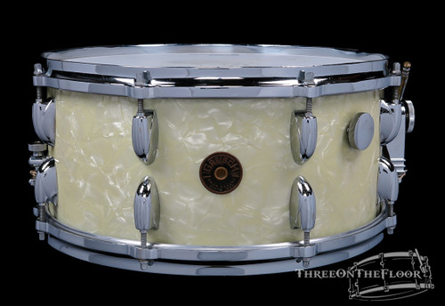 1950s Gretsch Floor Show Model Snare Drum White Marine Pearl 3-Ply : 6.5 x 14 **SOLD**