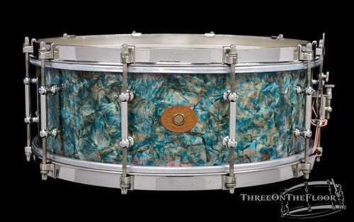 1930-32 Ludwig Peacock Pearl II Rainbow 'Separate Tension' Snare Drum : 5 x 14