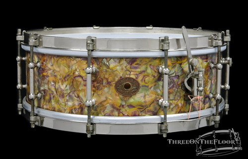 1928-30 Ludwig Peacock Pearl Type I 'Separate Tension' Snare Drum : 5 x 14