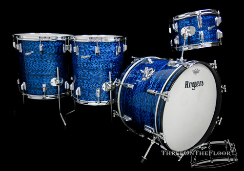 1964 Rogers Holiday Model Drum Kit Blue Onyx Vintage - 20 12 14x16 16