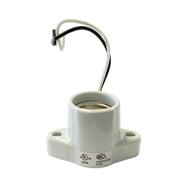 "Satco 80-2164 - Medium Base Socket | 6"" Wire Leads - Flange Screws - Porcelain - 660 Watt - 250 Volt"