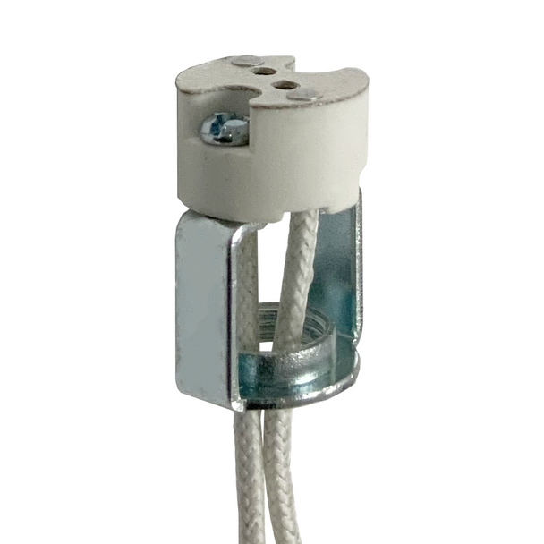 "Porcelain Halogen Socket - Mini Bi Pin | 100 Watt Max. - 1/8 IPS Hickey - 10"" Wire Leads - For G4, G5.3, GX5.3 and G6.35 Base Lamps"
