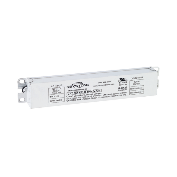 Keystone Non-Dimmable Constant Voltage LED Driver | 12VDC Output - 120-277VAC Input - 96 Watt Max. Output - 8 Amp Max. Output