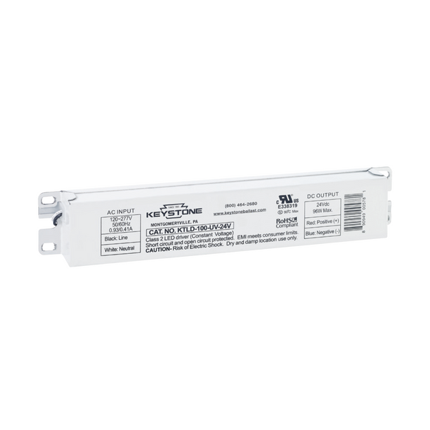 Keystone Non-Dimmable Constant Voltage LED Driver | 24VDC Output - 120-277VAC Input - 96 Watt Max. Output - 4 Amp Max. Output