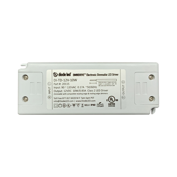 DiodeLED Dimmable Constant Voltage LED Driver   12VDC Output - 90-135VAC Input - 10 Watt Max. Output - 0.83 Amp Max. Output