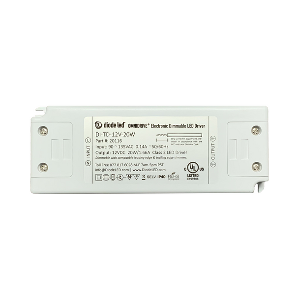 DiodeLED Dimmable Constant Voltage LED Driver | 12VDC Output - 90-135VAC Input - 20 Watt Max. Output - 1.66 Amp Max. Output