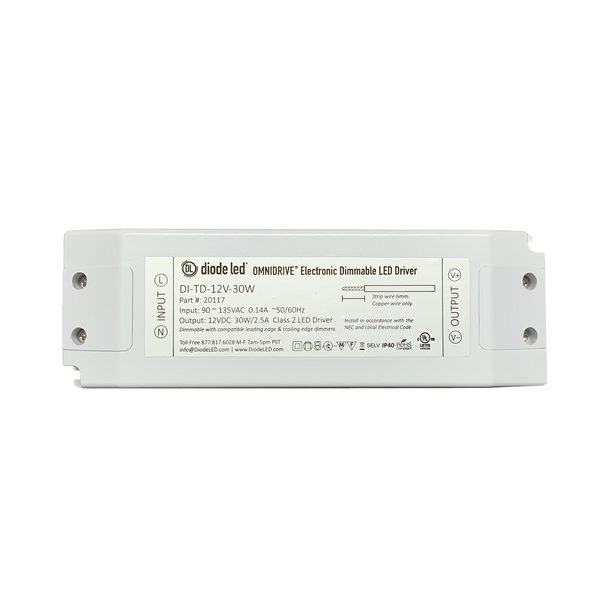 DiodeLED Dimmable Constant Voltage LED Driver | 12VDC Output - 90-135VAC Input - 30 Watt Max. Output - 12.5 Amp Max. Output