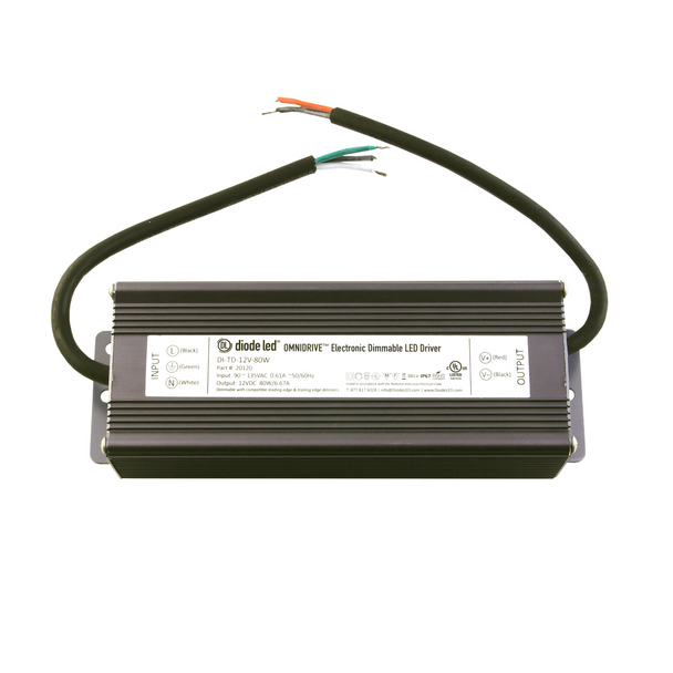 DiodeLED Dimmable Constant Voltage LED Driver | 12VDC Output - 90-135VAC Input - 60 Watt Max. Output - 5 Amp Max. Output