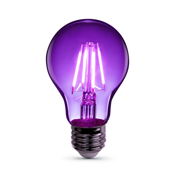 Feit A19/TP/LED A19 - 4.5W - 120V - Purple | Clear Glass - Medium Base - Colored LED A-Shape Light Bulb