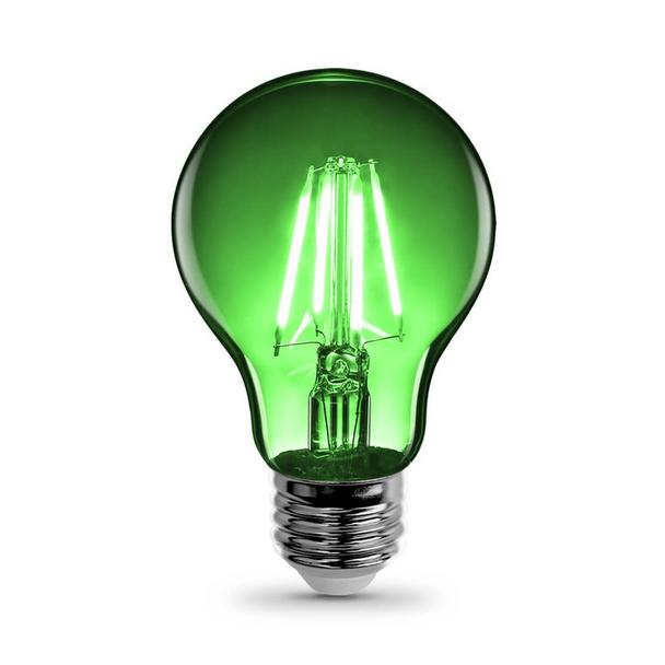 Feit A19/TG/LED A19 - 4.5W - 120V - Green | Clear Glass - Medium Base - Colored LED A-Shape Light Bulb