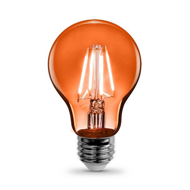 Feit A19/TO/LED A19 - 4.5W - 120V - Orange | Clear Glass - Medium Base - Colored LED A-Shape Light Bulb
