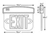 LED Edgelit Exit Sign, EM Backup, Red Letters, Clear Lens, Double Sided