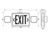 LED  Exit Sign, Emergency Lighting Combination iLEDCXTEU2RW Series with Battery Backup Red Lens