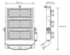 LSLM750-5K-HV 480V Linear 750 Watt LED Flood Light with individually adjustable LED Arrays for Arenas and sports Field Lighting UL DLC