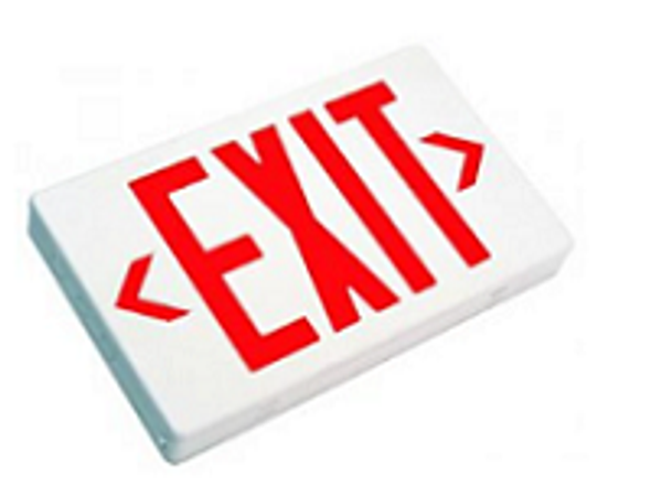 LED Exit Sign Battery Backup, Red Letters, White Housing, Single/Double Sided