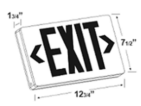 LED Exit Sign Battery Backup, Green Letters, White Housing, Single/Double Sided