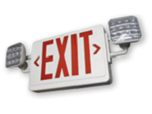 iLEDCXTEU2RW LED Exit Sign, Emergency Lighting Combination Series with Battery Backup Red Lens