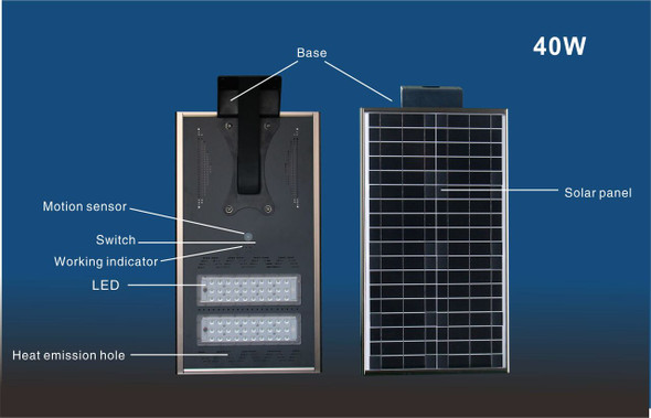 40W All-In-One Solar LED Street Light with Integrated Solar Panel