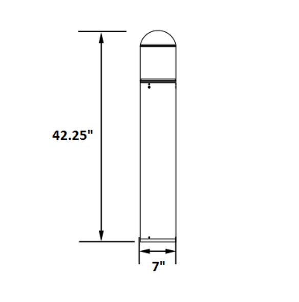 ILBORLQS-5K LED Bollard Stainless Steel Post Light, With Cone Reflector, Round Top, 15 Watt, 5000K