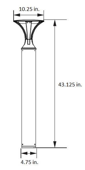 LED Deco Style Bollard Round Post Light, Architectural Flat Top, 16 Watt, 4000K