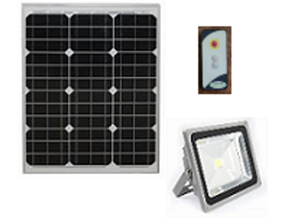 LGF-2700-P Solar Powered Flood Light Fixture 2700 Lumens Wall Mount Area light, Programmable