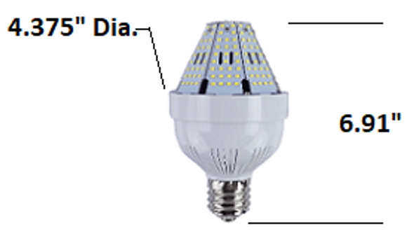 30 Watt Post Top Mounted LED Bulb, HID Replacement Lamps - 6000K