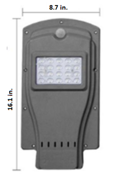 7W All-In-One, totally integrated  Solar LED Street Light with slipfitter Mount, 1100 Lumens, Type 3 or Type 5 Light Spread