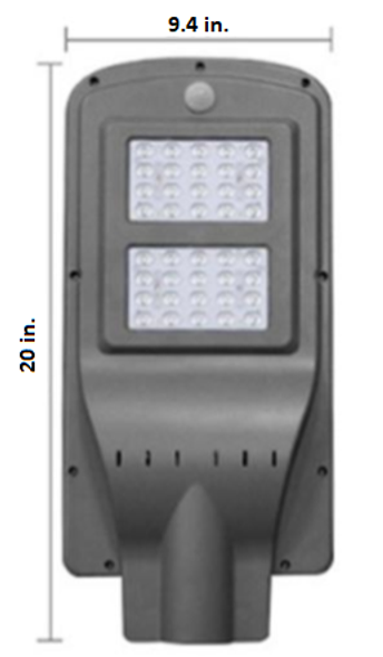 11W All-In-One, totally integrated  Solar LED Street Light with slipfitter Mount, 1750 Lumens, Type 3 or Type 5 Light Spread