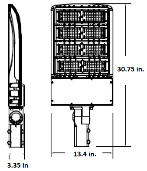 LKHM300-3K-S 300 Watt, 40000 Lumens LED Area Light Fixture with slipfitter mount, 3000K Color Temp Flood 1500 Watt HPS Equivalent