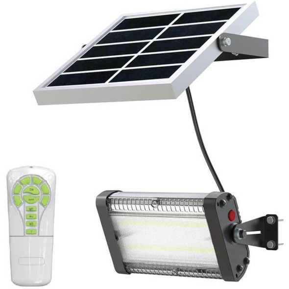 LGF2-50WP Solar Powered Flood 50W LED Light Fixture 5000 Lumens Wall Mount Remote Solar panel Programmable