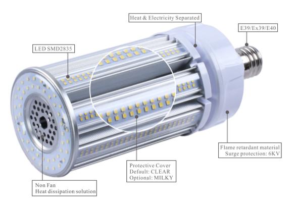 ICEX39120-5K IP65 Rated LED Corn Light Bulb, 120 Watt EX39 Base ETL DLC Listed, 15600 lumens Fanless Design 5000K